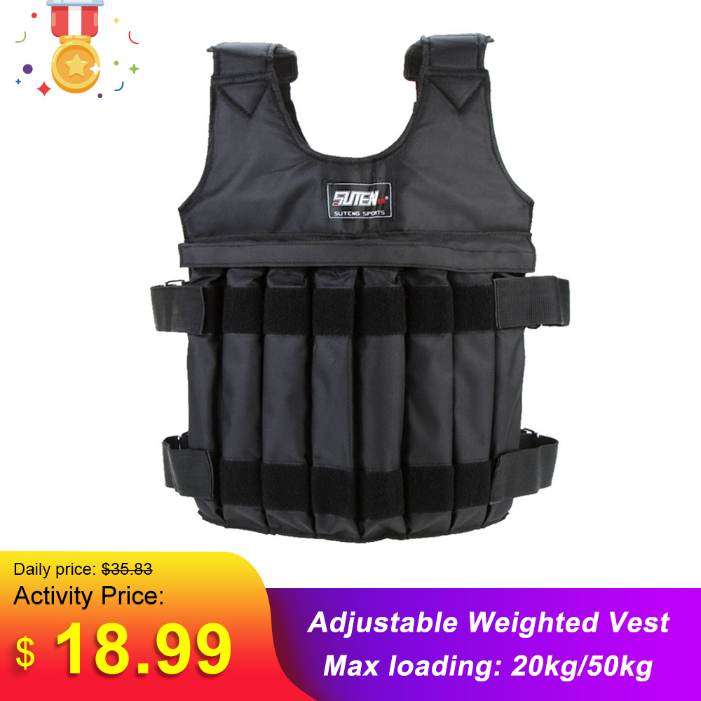 SUTEN 20kg/50kg Loading Weighted Vest For Boxing Training Workout Fitness Equipment Adjustable Waistcoat Jacket Sand Clothing weight vest sand clothingweights for vest - AliExpress