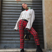 Pantalon à carreaux pour femmes, sarouel taille haute, Streetwear, poches, printemps, 2021