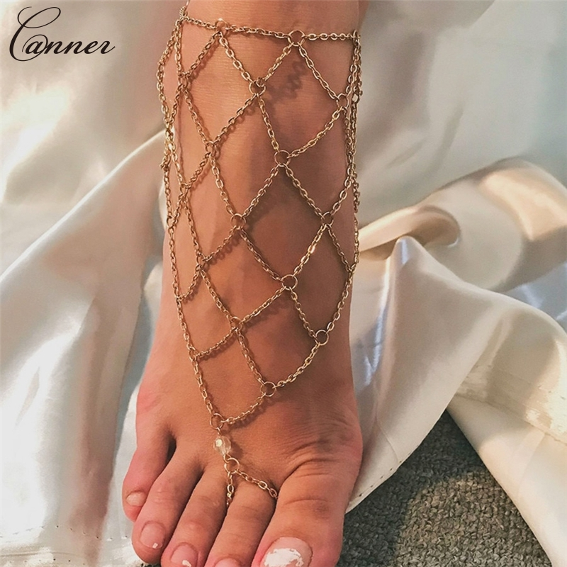 CANNER Exaggerated Hollow Mesh Chains Anklets for Women Gold Color Mesh Chains Leg Bracelet Barefoot Sandals Foot Jewelry Q40