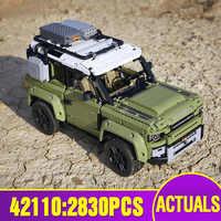 DHL Technic Model samochodu kompatybilny z 42110 Land SUV samochód Rover Defender montaż samochodów Model dzieci zabawki świąteczne klocki