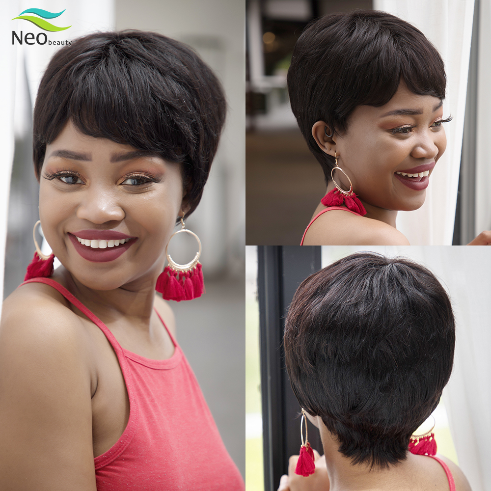 Pixie Cut Wig Natural Color Short Human Hair Wigs For Black Women Pre Plucked Wig  Cheap Human Hair Wig With Free Shippipping