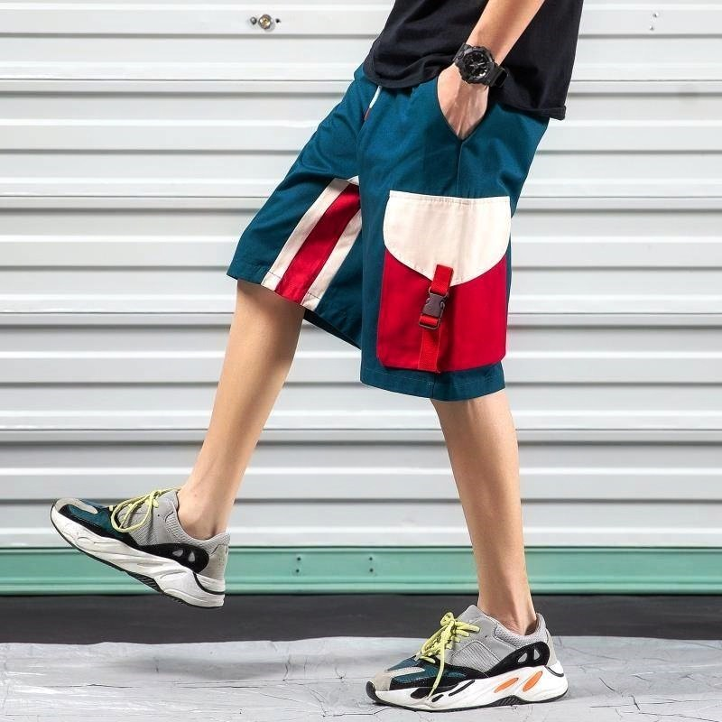 Summer Knee Length Cargo Shorts Men Pocket Cotton Elastic Waist Bermudas Male Hip Hop Style Capri Breeche Patchwork High Street