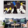 Simpson Family On Abbey Road Painting Printed on Canvas 1