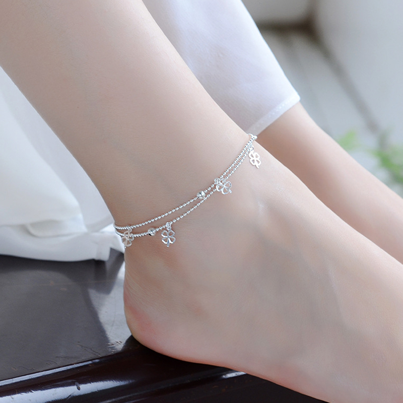 Newest Fashion 925 Sterling Silver Double Layer Small Ball Chain Anklet Lucky Clover Pendant Anklets Bracelet For Women Jewelry 5