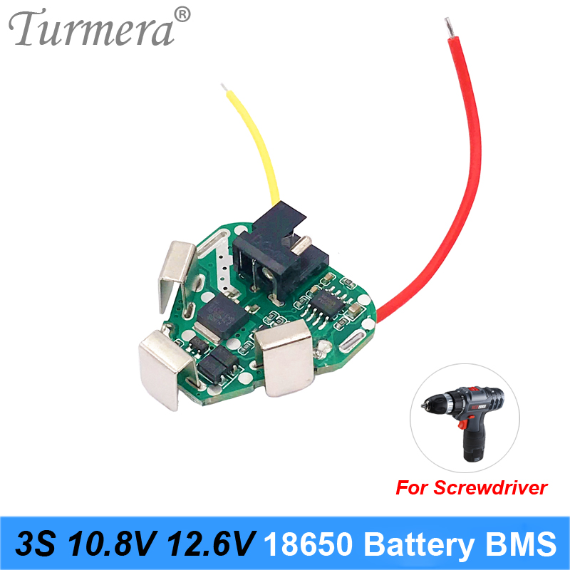 Turmera 3S 12.6V 10.8V 18650 Lithium Battery BMS Protection Board Circuit Module For Screwdriver Battery 12V 3s Packs BMS Use