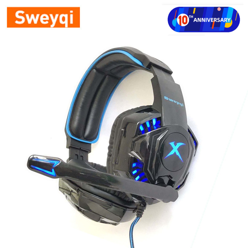 HOT SALE!Sweyqi A702/A701 Gaming Headphone PC/PS4/XBOX High-fidelity Stereo Earphones With Microphone LED Light Noise Canceling