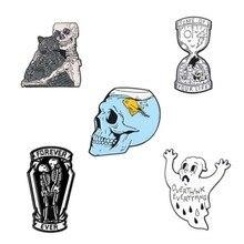 Скелет рыбы танк значок черепа брошь сумка джинсовая рубашка лацкан булавка готическое ювелирное изделие в виде кошки подарок Хэллоуин украшение 1 шт