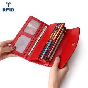 Image 2 - Luxe en cuir véritable sacs à main femme portefeuille longue pochette sacs femmes portefeuilles avec coque de téléphone femme RfidCard titulaire Carteira