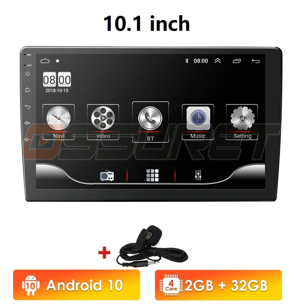 Ossuret 10,1 pulgadas Android 9,0 Quad Core 1 + 16G reproductor Multimedia estéreo de coche 2DIN bluetooth WIFI GPS Nav Radio Video Player BT