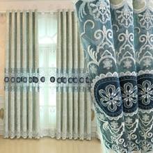 купить European luxury blue coffee curtains kitchen curtains embroidered window curtain for living room curtain fabrics по цене 863.64 рублей