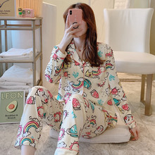 2020 Women Pajamas Sets with Pants Long Sleeve Turn down Collar Pyjama Print Cute Cartoon Button Top+Pants Pijama Soft Homewear