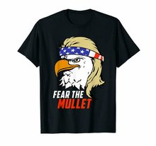 Fear The Mullet Eagle Patriotic Political Usa Flag Unisex Black T-Shirt S-3Xl Retro O Neck Tee Shirt(China)