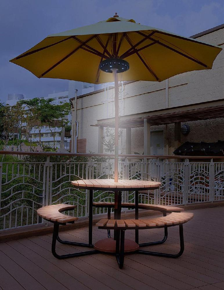 48 led outdoor umbrella night white