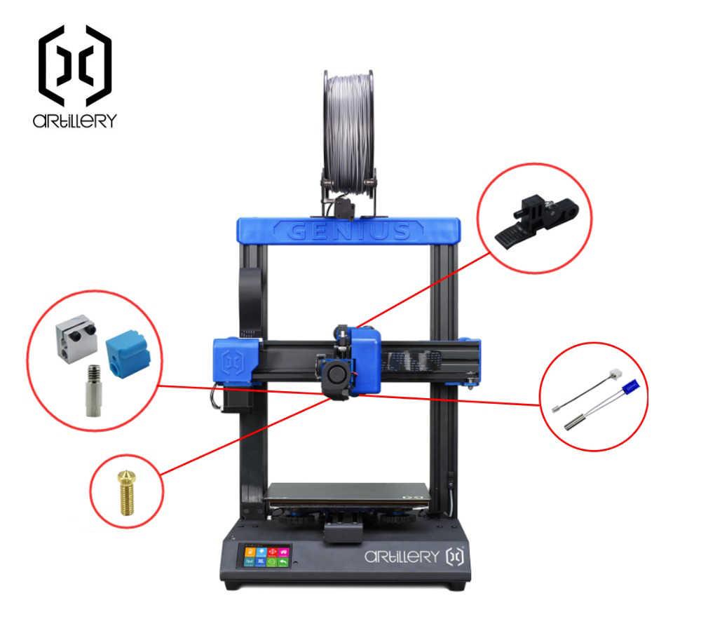 Kit de boquillas de silicona para impresora 3D de artiller/ía X1 y Genius tubo calefactor termistor con mango de garganta piezas de calefacci/ón.