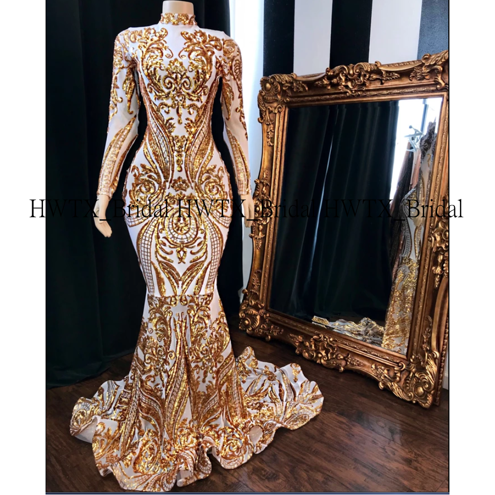 Glamorous Gold Long Prom Dresses New Arrival Glitter Sequin Lace Long Sleeve High Neck Mermaid African Prom Dress 2K20 Custom
