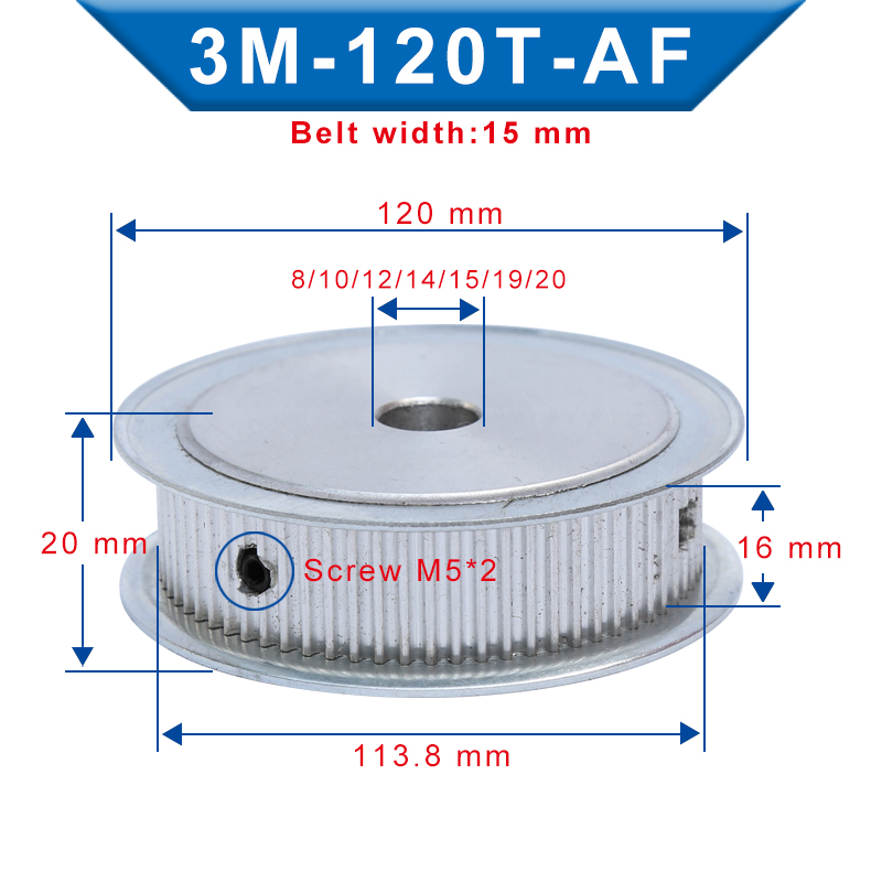 Timing Pulley 3M120T Inner Bore 8/10/12/14/15/19/20 mm Aluminum Belt Pulley Slot Width 16 mm For 3M-synchronous belt Width 15 mm