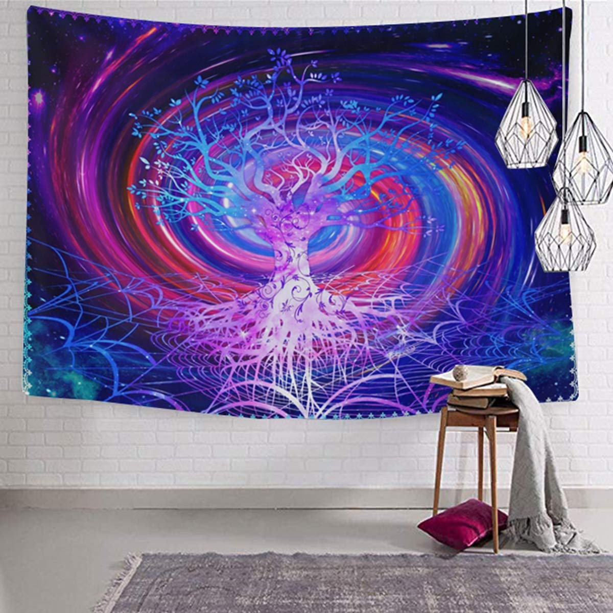 Tree Psychedelic Cool Trippy Tapestries Galaxy Purple Nature Wall Hanging Tree of Life Gothic Wall Decor