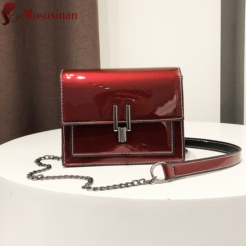 Brand Fashion PU Leather Crossbody Bags For Women 2020 Black Red Small Square Bag Ladies Chain Mini Shoulder Bags Messenger Bag