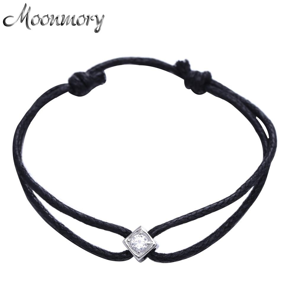 Moonmory France Popular 925 Sterling Silver Square Stone Bracelet For Women Pulseira Black Rope Wedding Bracelet Adjustable Gift