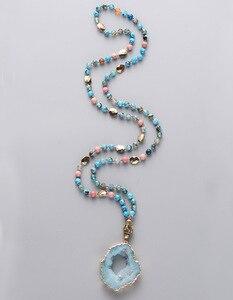 Image 1 - 自由奔放に生きるミックス天然石オニキス石druzyネパールペンダントネックレス手作り金色drusy女性ネックレスのドロップシッピング