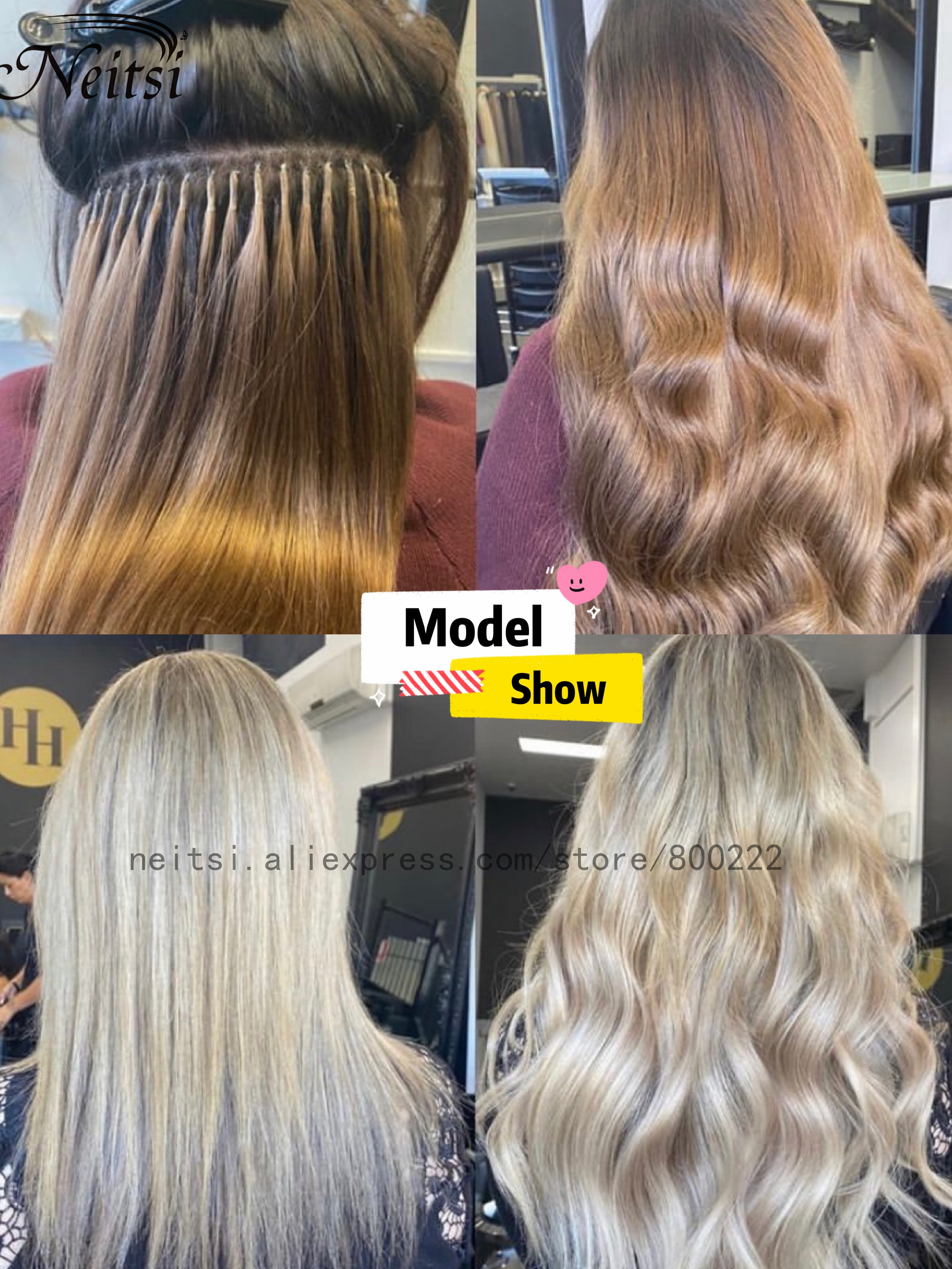 """Neitsi Straight Keratin Capsules Human Fusion Hair Nail U Tip Machine Made Remy Pre Bonded Hair Extension 16"""" 20"""" 24"""" 1g/s 50g 6"""