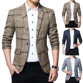 Fashion Men Plaid Lapel Slim-Fit Blazer Jacket Coat One Button Business Suit JacketBlazer Korean Style Slim Men Suit Coat Casual