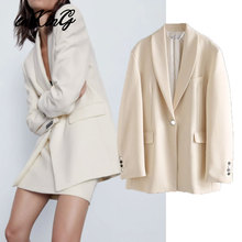 2020 england office lady vintage oversize beige blazer feminino za blazer women blazer mujer  women blazers and jackets top