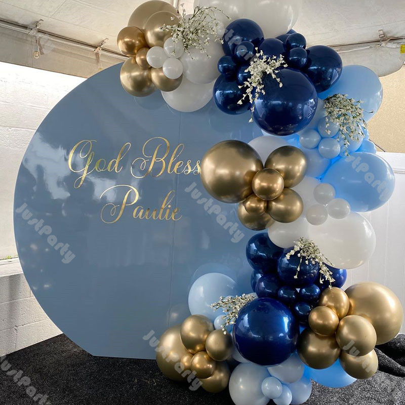 95pcs Navy Blue Balloons Garland Arch Gender Reveal Decoration White Blue Chrome Gold Wedding Birthday Party Baby Shower Decor