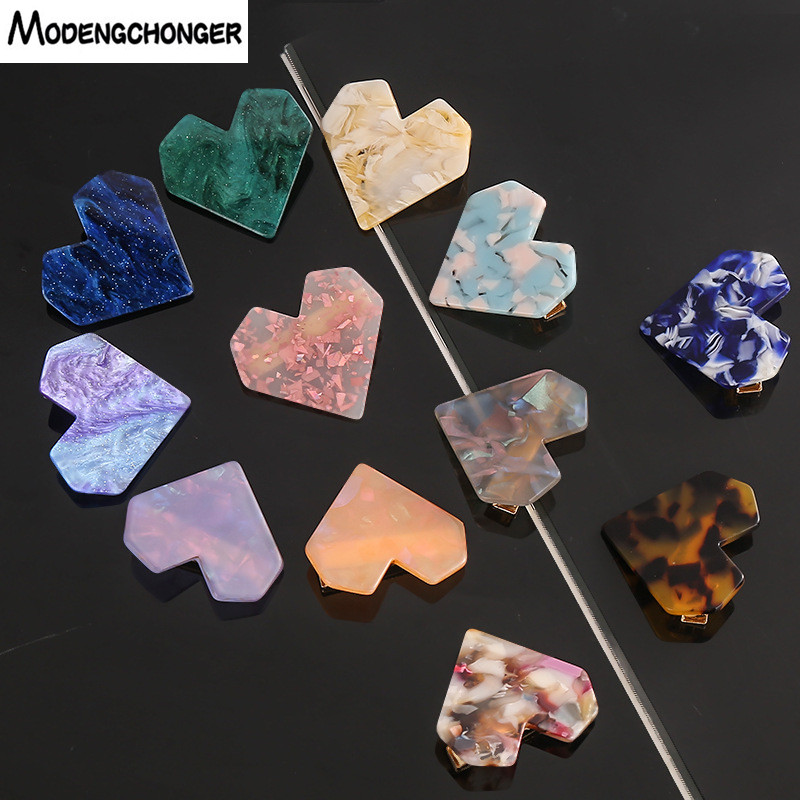 Fashion Heart Shape Resin Hair Clips For Women Hairpins Geometric Shiny Heart Shell Hairgrip Ladies Girl Hair Accessories Gift