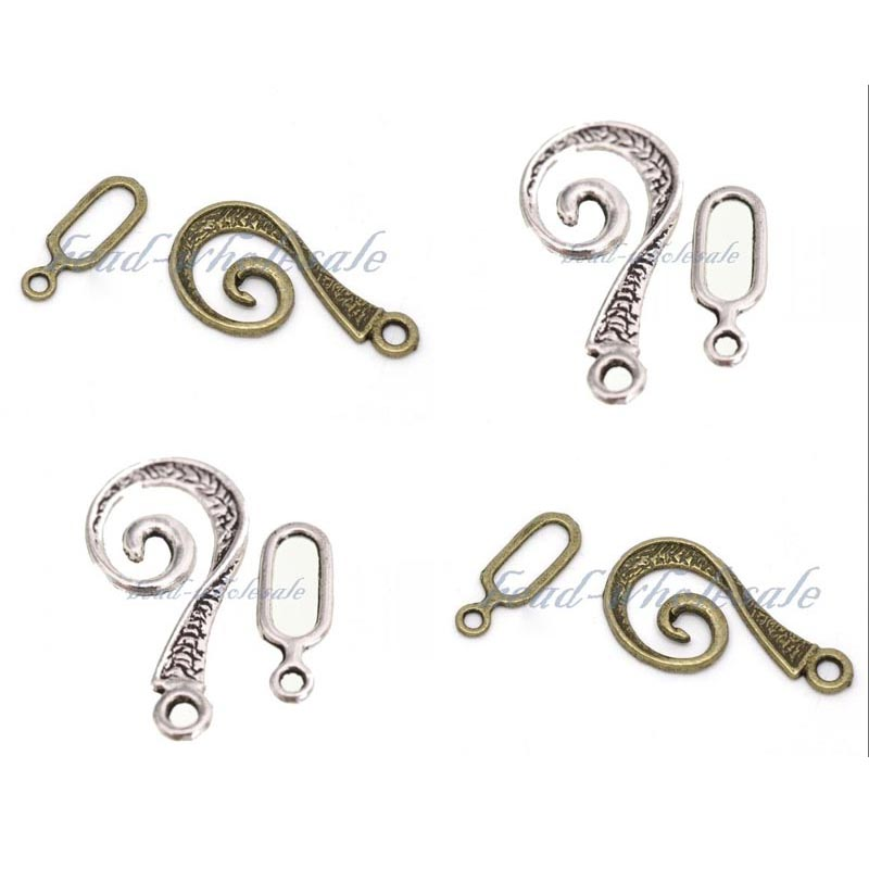 30 Sets Tibetan Silver Connector Toggle Clasps Clasps Hooks For Bracelet
