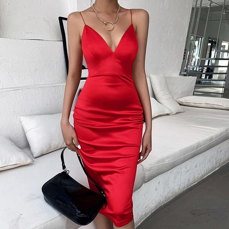 Toplook Satin Sexy Deep V Dress Women Summer High Waist Neck Sleeveless Party Night Club Bodycon Dresses Vestidos 2020