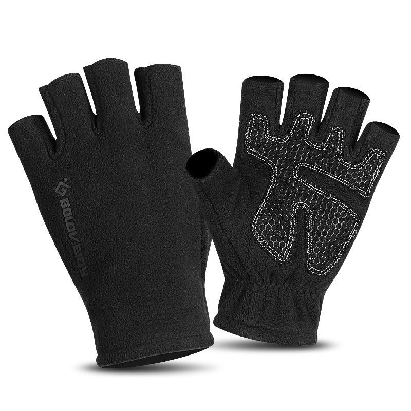 Half-finger Gloves Men Winter Fingerless Anti-slip Half Length Leakage Refers To Warm Korean-style Outdoor Mountain Climbing Fin