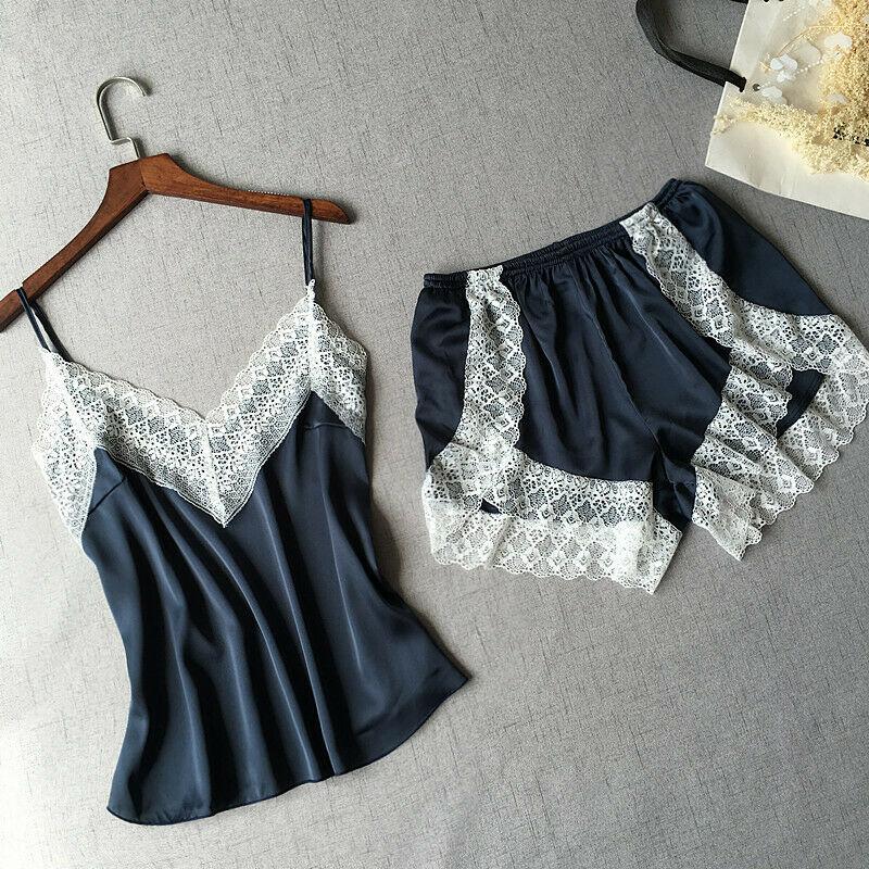 2pcs Women Silk Satin Lace Lingerie Soft V neck Sleepwear Babydoll Sexy Lingerie Nightdress   Pajamas     Set