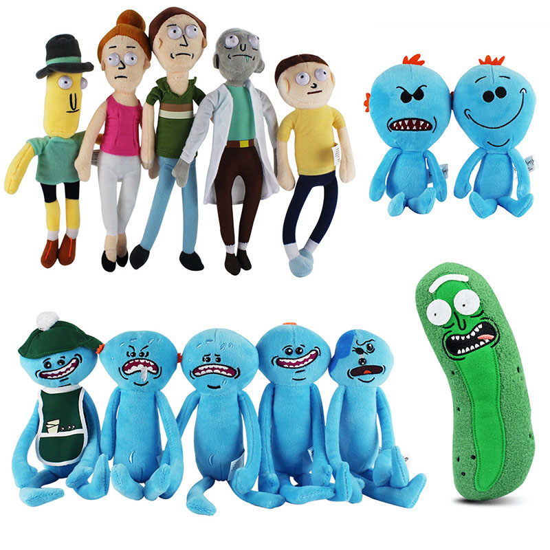 26-30cm Rick And Morty Plush Q Mr. Meeseeks Plush Doll Toys Meeseeks Peluche Soft Stuffed Toys In Stock For Home Decoration Gift