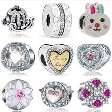 Hot Selling Luxurious Moon Sun Rabbit Aircraft Hot Air Balloon Heart Bead Fit Original Pandora Charms for Women DIY Jewelry(China)