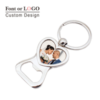 100pcs Love Heart Keychain Bottle Opener Personalized Wedding Favor Souvenir Custom Photo Picture Key Holder Beer Bottle Openers