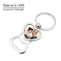 100pcs Love Heart Keychain Bottle Opener Personalized Wedding Favor Souvenir Custom Photo Picture Key Holder Beer Bottle Openers