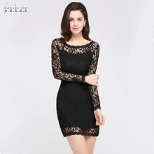 Babyonlinedress Sexy Long Sleeve Black Lace Cocktail Dresses Short Party Cut-out Vestidos Coctel Robe de