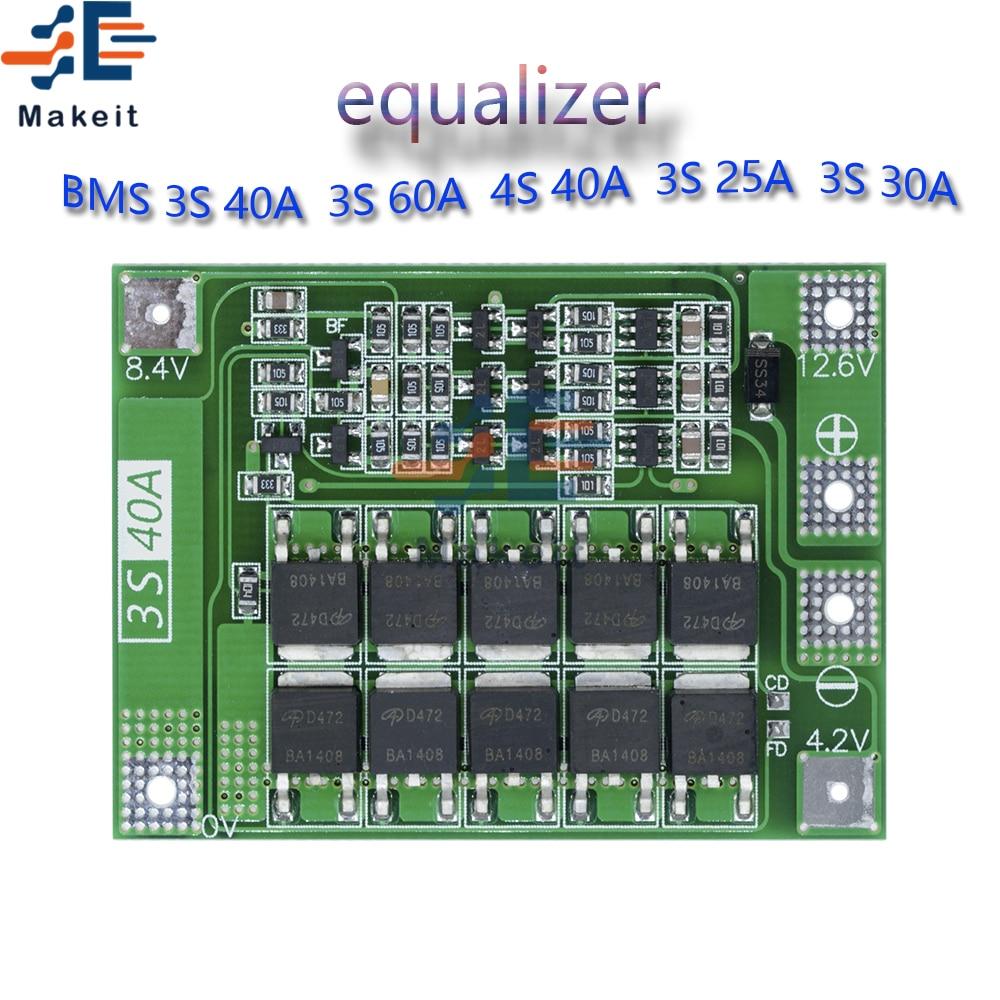 BMS intelligent 3S 4s 25A 30A 40A 60A 12v 48v 18650, panneau de Protection de chargeur de batterie au Lithium Li-ion avec équilibreur