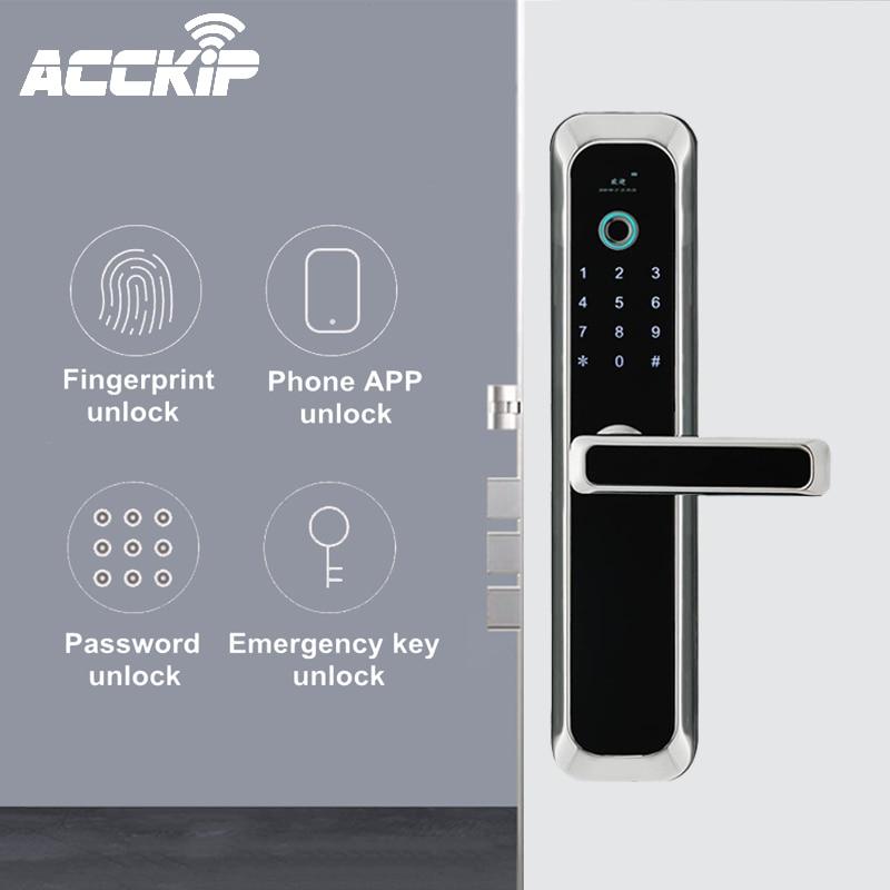 ACCKIP Fingerprint Smart Door Lock Wifi Code Card Key Digital Electronic Lock With Doorbell Deadbolt Lock For Home Security