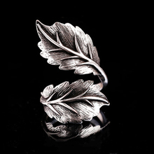 925 Sterling Silver Handcrafted Taiyin Makes Old Trendy Leaf Ring Personality Fashion Wide Face Lady's Open Ring Accessories 925 sterling silver thai handcrafted individual trendy leaf frosted fine bracelet creative feather lady s ring accessories
