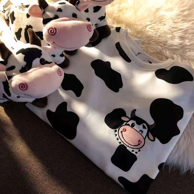 QWEEK Kawaii Cow Print Sweatshirt Women Japanese Harajuku Cute Milk Embroidery Long Sleeve Hoodie Sweatshirt 2021 Fashion Korean 2