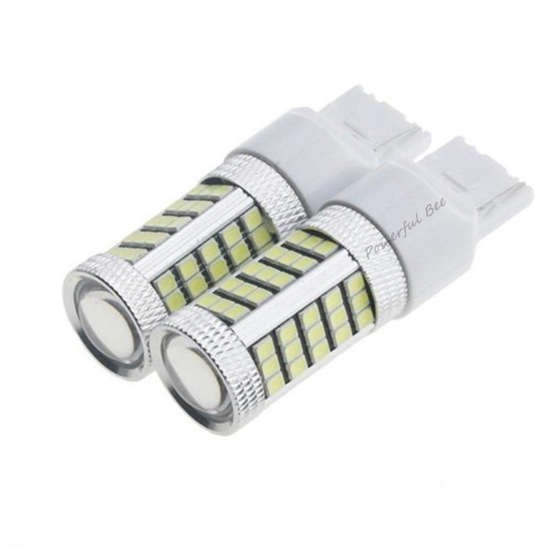 2 x <font><b>T20</b></font>/7440/W21W 66SMD <font><b>21W</b></font> white yellow red ice blue LED DC12V car DRL driving reverse brake tail signal fog lights bulb image