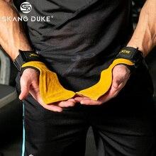 Тяжелая атлетика Захваты из воловьей кожи Ручные перчатки для гимнастики браслеты противоскольжения Тренажеры для фитнеса Превосходная сила захвата ремни перчатки