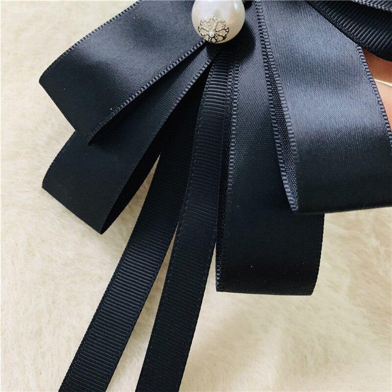 Women Sun Flower Crystal Pearl Ribbon Bowknot Brooch Pin Necktie  Bow Tie Brooch