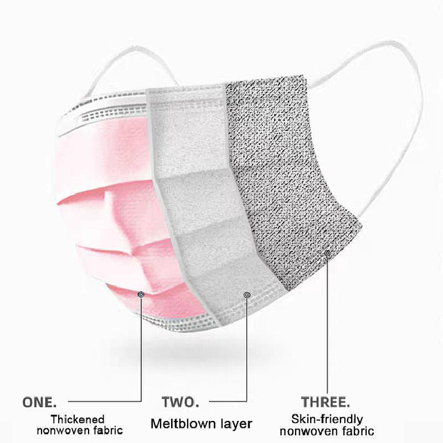 10/50/200pcs Disposable Face Mask Nonwoven Pink 3 Layers Civil Anti Dust Smog Breathable Gauze Mask Adult Pink Face Mouth Mask 4