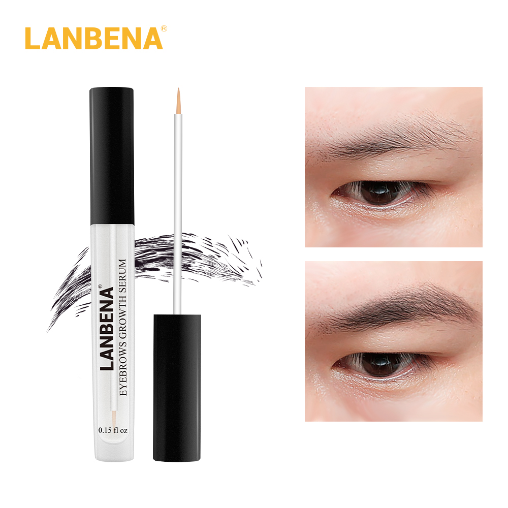 LANBENA Eyebrow Growth Serum Longer Fuller Thicker Nourishes Eyebrow Enhancer Eyelash Fast Powerful Hair Growth Make Up Beauty