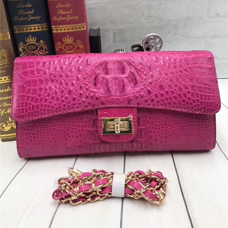 Fashion Genuine Crocodile Skin Female Flap Bag Exotic Alligator Leather Lady Pink Evening Purse Women's Crossbody Shoulder Bag