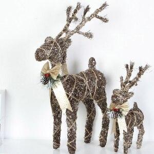 Рождественский железный провод, мультяшное украшение «Олень», хвои из конопляной сосны, лось, для улицы, для двора, Вечерние Декорации, олен...