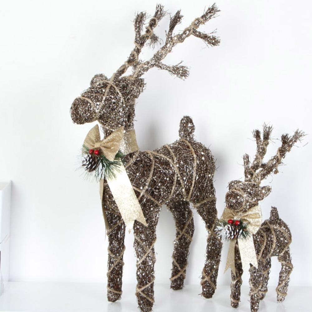 Christmas Iron Wire Cartoon Elk Decoration Hemp Pine Needles Elk Outdoor Yard Party Decor Deer Xmas Sculpture Table Ornament